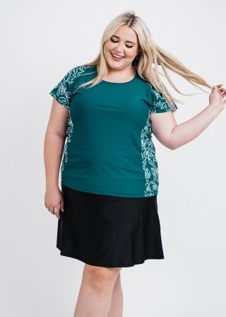 Plus Size Loose Fit Adele Swim Top With Flowy Swim Skort