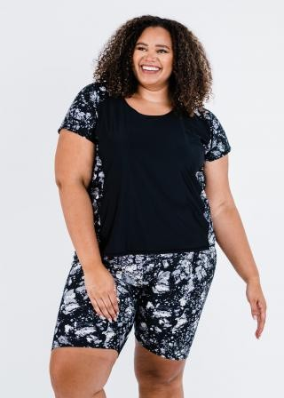 Plus Size Loose Fit Adele Swim Top With Long Bike Swim Shorts