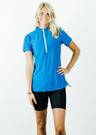 Half-Zip Adele Swim Top With Mid-Thigh Swim Shorts