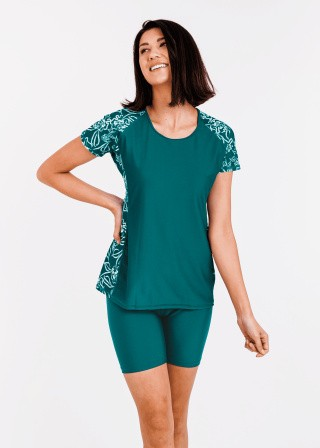 Loose Fit Adele Swim Top With Mid-Thigh Swim Shorts