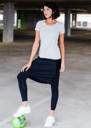 "Knee Length Sport Skirt with Attached 27"" Leggings"