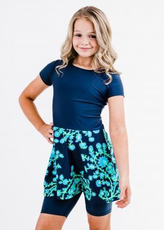 Girl's Dixie Swim Dress With Long Bike Swim Shorts