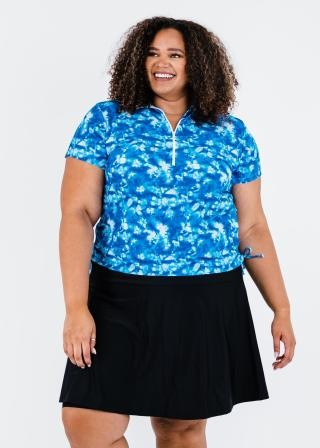 Plus Size Half-Zip Adele Swim Top With Flowy Swim Skort