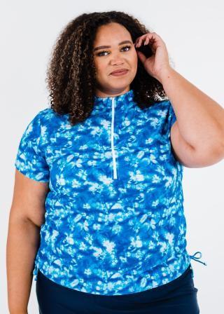 Plus Size Half-Zip Adele Swim Top