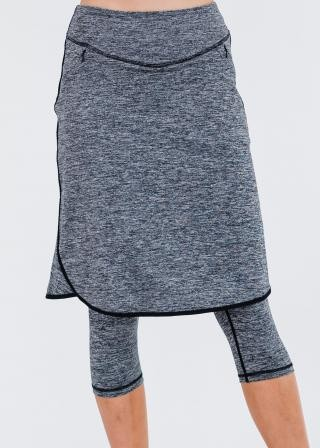 """Knee Length Lycra Sport Skirt with Attached 17"""" Leggings"""