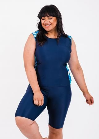 Plus Size Loose Fit Maya Swim Top With Long Bike Swim Shorts