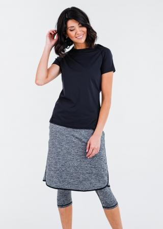 """Pro Performance Top With Knee Length Lycra Sport Skirt With Attached 17"""" Leggings"""