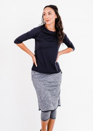 """Pro 3/4 Sleeve Performance Top With Knee Length Lycra Sport Skirt With Attached 17"""" Leggings"""