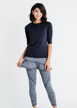 """Pro 3/4 Sleeve Performance Top With A-line Lycra® Short Sport Skirt With Attached 27"""" Leggings"""