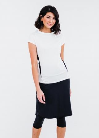 """Pro Cap Sleeve Performance Top With Mesh Panels With Knee Length Lycra® Sport Skirt With Attached 17"""" Leggings"""