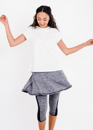 """Pro Pleated Back Performance Top With Flowy Lycra Sport Skirt With Attached 17"""" Leggings"""