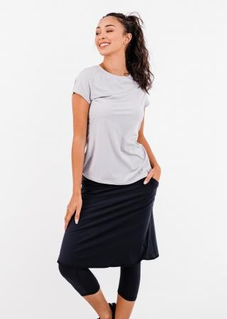 """Pro Pleated Back Performance Top With Knee Length Lycra Sport Skirt With Attached 17"""" Leggings"""