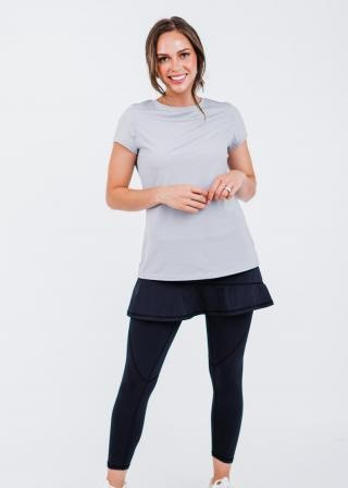 """Pro Pleated Back Performance Top With A-line Lycra® Short Sport Skirt With Attached 27"""" Leggings"""