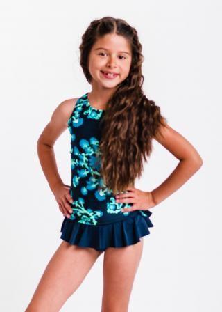Girl's Abby Swim Top With Ruffled Bikini Bottom