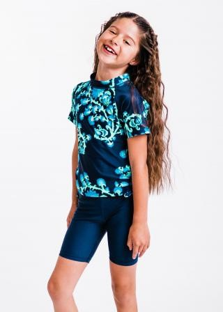 Girl's Surfer Swim Top With Long Bike Swim Shorts