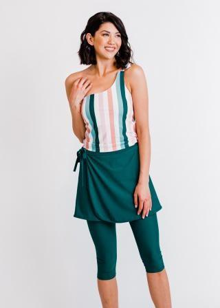 Layla Crop Swim Top With Sarong Wrap Swim Skirt & Capri Swim Leggings
