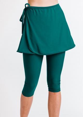 Sarong Wrap Swim Skirt With Capri Swim Leggings