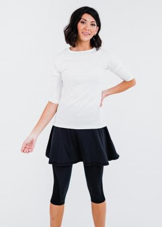 """Pro 3/4 Sleeve Performance Top With Flowy Lycra® Sport Skirt With Attached 17"""" Leggings"""
