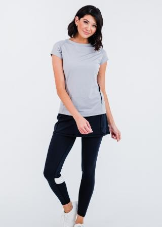 """Pro Cap Sleeve Performance Top With Mesh Panels With Short Lycra Sport Skirt With Attached 27"""" Leggings"""