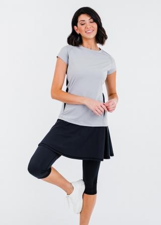 """Pro Cap Sleeve Performance Top With Mesh Panels With Flowy Lycra Sport Skirt With Attached 17"""" Leggings"""