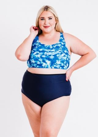 Plus Size Racerback Swim Bra With Removable Cups With High-Waisted Bikini Bottom