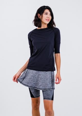 """Pro 3/4 Sleeve Performance Top With Midi Lycra® Sport Skirt With Attached 10"""" Leggings"""