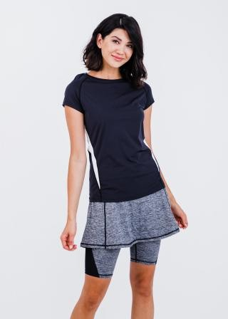 """Pro Cap Sleeve Performance Top With Mesh Panels With Midi Lycra® Sport Skirt With Attached 10"""" Leggings"""
