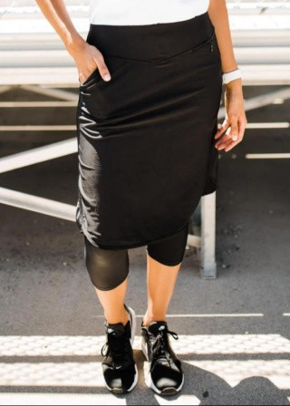 """Knee Length Sport Skirt With Attached 17"""" Leggings"""