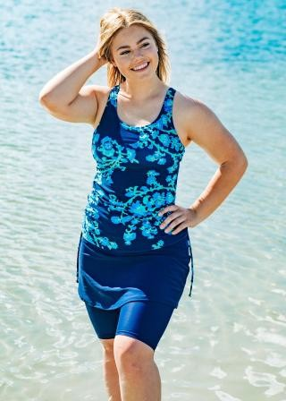 Plus Size Maya Swim Top with Midi Swim Skort