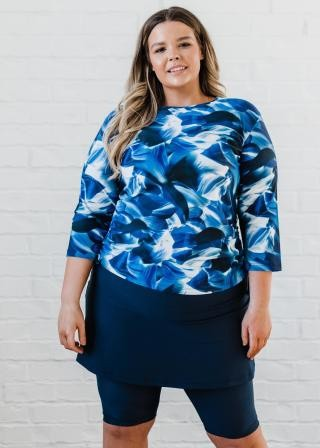 Plus Size Margaux Swim Top with Midi Swim Skort