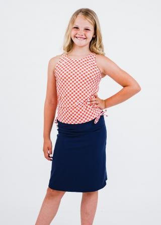Girl's Abby Swim Top With Knee Length Swim Skort