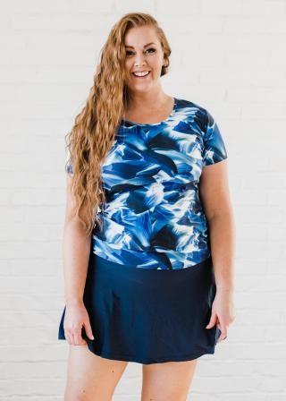 Plus Size Adele Swim Top With Flowy Swim Skort