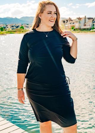 Plus Size Margaux Swim Top With Knee Length Swim Skort