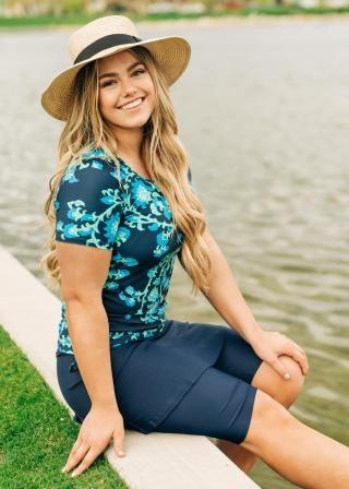 Plus Size Adele Swim Top With Midi Swim Skort