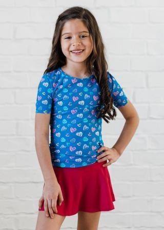 Girl's Lily Swim Top With Short Swim Skort