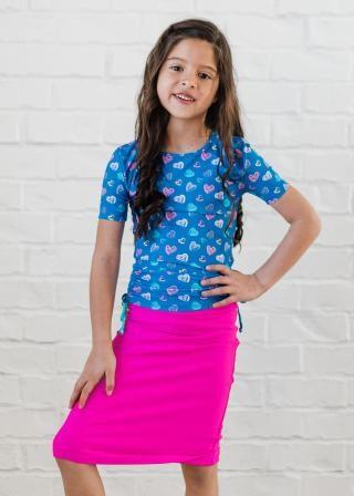 Girl's Lily Swim Top with Knee Length Swim Skort