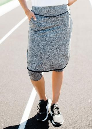"Knee Length Sport Skirt With Attached 17"" Leggings - Melange"