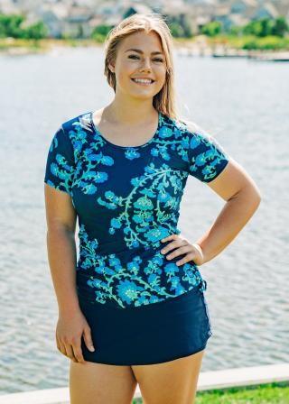 Plus Size Adele Swim Top With Short Swim Skort
