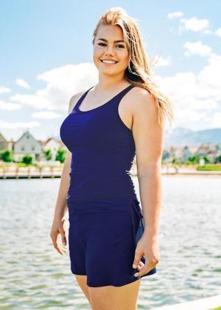 Plus Size Maya Swim Top With Short Swim Skort