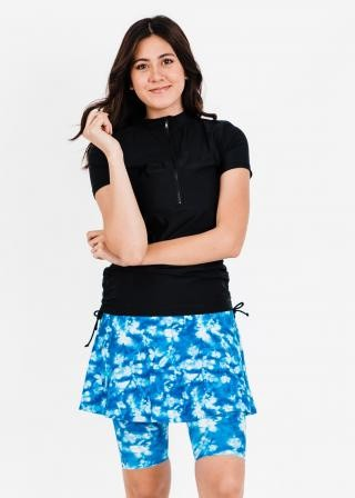 Half-Zip Adele Swim Top With Midi Swim Skort