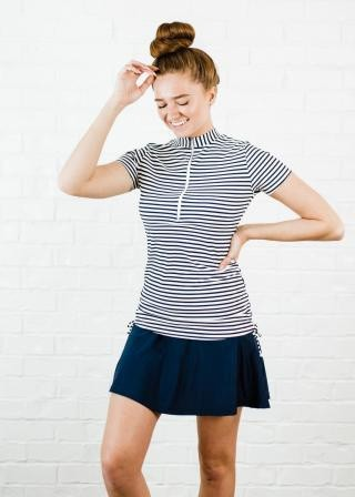 Half-Zip Adele Swim Top with Flowy Swim Skort