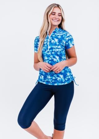 Half-Zip Adele Swim Top With Capri Swim Leggings