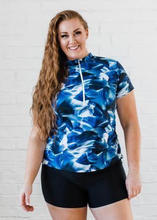 Plus Size Half-Zip Adele Swim Top With Swim Shorts