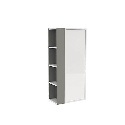 Armario con estante lateral B-SMART Bath+ color Blanco Brillo-Gris bac01d3b9353
