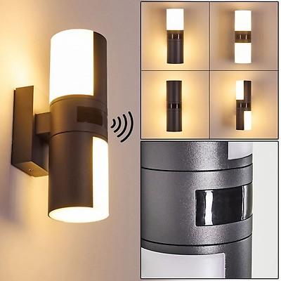 LED Außenlampen Set Laterne anthrazit mit Bewegungsmelder Außenwandleuchten