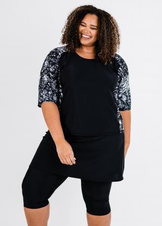 Plus Size Loose Fit Margaux Swim Top With Skirted Swim Capris