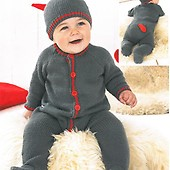 a566bef9e Babies and Boys All-in-one with hood in Snuggly Baby Crofter DK