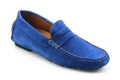 dd7161455c8a7 AVOLA Men's Cobalt Blue Suede Driving Shoe