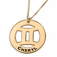 Gemini Sign Name Necklace, Sterling Silver