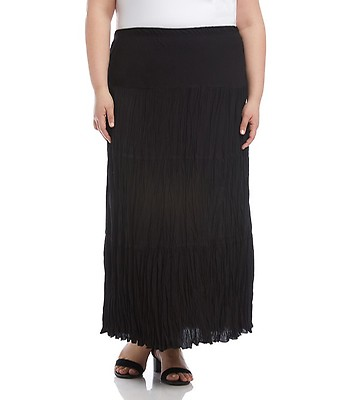 aae691a619 Plus Size Faux Leather Maxi Skirt-Black-0X